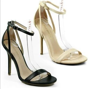 Nude Faux snake Leather single strap Heel Sandal